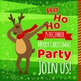 Cartão com tipografia, rena engraçada que toca, estilo sutil do inseto da festa de Natal dos desenhos animados ilustração royalty free