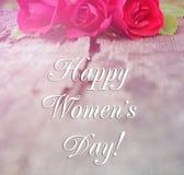 Cartão com um dia feliz do ` s das mulheres da inscrição! Imagem de Stock Royalty Free