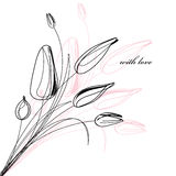 Cartão com um esboço dos tulips ilustração royalty free