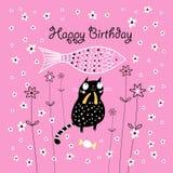 Cartão com um gato ilustração do vetor