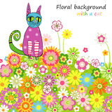 Fundo floral com um gato Ilustração do Vetor