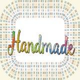Cartão com um handwork da inscrição em um fundo heterogêneo do embr Imagens de Stock