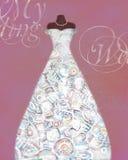 Cartão com um manequim e um vestido de casamento com teste padrão criativo Fotografia de Stock