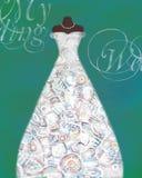 Cartão com um manequim e um vestido de casamento com teste padrão criativo Foto de Stock