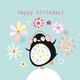 Cartão com um pinguim engraçado ilustração stock