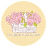 Cartão com um ramalhete das rosas ilustração royalty free
