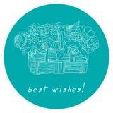 Cartão com um ramalhete das rosas Fotografia de Stock Royalty Free