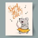 Cartão com um rato Fotografia de Stock Royalty Free