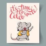 Cartão com um rato Imagem de Stock Royalty Free