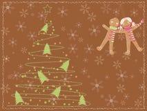 Cartão com uma árvore de Natal e os miúdos do pão-de-espécie Imagem de Stock Royalty Free