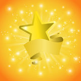 Cartão com uma estrela e as lantejoulas da fita ilustração stock