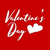 Cartão com uma rotulação original para o dia do ` s do Valentim Ilustração do vetor com elementos isolados Fotos de Stock Royalty Free