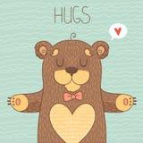 Cartão com urso bonito Fotos de Stock