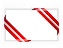 cartão com vermelho e fita da prata ilustração do vetor