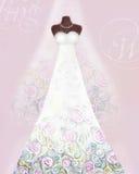 Cartão com vestido de casamento em um manequim e em um véu Teste padrão floral Fotos de Stock Royalty Free