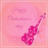 Cartão com violino Imagens de Stock