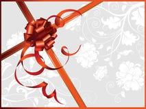 Cartão comemorativo, com fita e as flores vermelhas ilustração royalty free
