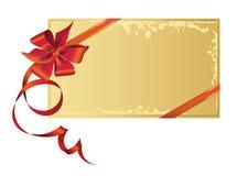 Cartão comemorativo, com a fita vermelha com espaço da cópia. ilustração royalty free