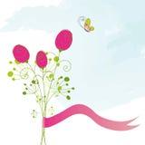 Cartão cor-de-rosa da borboleta do vermelho abstrato Fotografia de Stock Royalty Free