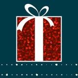 Cartão cor-de-rosa da caixa de presente e do Valentim dos corações. EPS 8 Imagens de Stock