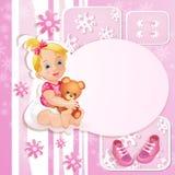 Cartão cor-de-rosa do chuveiro de bebê Fotografia de Stock Royalty Free