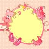Cartão cor-de-rosa do chuveiro de bebê Foto de Stock Royalty Free