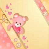 Cartão cor-de-rosa do chuveiro de bebê Imagens de Stock Royalty Free