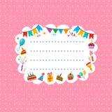 Cartão cor-de-rosa do cumprimento ou do convite com quadro para seu texto ilustração do vetor