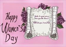 Cartão cor-de-rosa do esboço com uma declaração lilás do amor Imagem de Stock