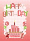 Cartão cor-de-rosa do feliz aniversario para meninas Imagens de Stock