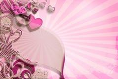 Cartão cor-de-rosa dos corações, retro Foto de Stock