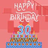 Cartão cor-de-rosa velho do bolo do feliz aniversario 30o - rotulação da mão - caligrafia feito a mão Imagem de Stock