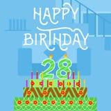 Cartão cor-de-rosa velho do bolo do feliz aniversario 28o - rotulação da mão - caligrafia feito a mão Foto de Stock Royalty Free