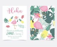 Cartão cor-de-rosa verde do convite com palma, abacaxi, hibiscus, ardendo Fotos de Stock Royalty Free