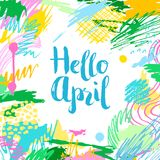 Cartão criativo artístico colorido olá! abril Foto de Stock Royalty Free