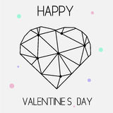 Cartão criativo artístico do dia de Valentim do St com símbolo geométrico do coração Fotografia de Stock Royalty Free