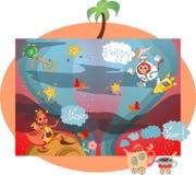 Cartão criativo do ano novo feliz com dragão, macaco, bule, copo, estrelas, borboletas e árvores no espaço ilustração stock