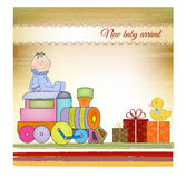 Cartão customizável do aniversário com trem Imagem de Stock Royalty Free