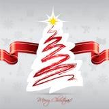 Cartão da árvore de Natal com fita vermelha Imagem de Stock