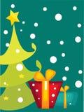 Cartão da árvore de Natal dos desenhos animados Imagens de Stock Royalty Free