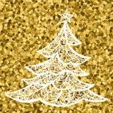 Cartão da árvore de Natal de Golg do vetor árvore de Natal do desenho, ilustração de um cartaz da cor da árvore de Natal do cumpr ilustração royalty free