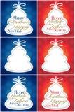 Cartão da árvore dos cumprimentos do Natal Imagens de Stock