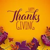 Cartão da ação de graças, texto das felicitações Folhas da árvore do outono no fundo amarelo Bandeira outonal da queda do projeto ilustração do vetor