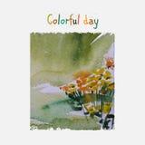 Cartão da aquarela Imagens de Stock