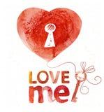 Cartão da aquarela com coração e chave Fotografia de Stock