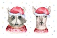 Cartão da aquarela do Feliz Natal com elementos deerfloral do guaxinim e do bebê Cartazes da rotulação da jovem corça do ano novo Fotografia de Stock Royalty Free