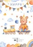 Cartão da aquarela para o aniversário do ` s das crianças ilustração royalty free