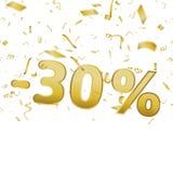 Cartão da bandeira da venda com 30 confetes dos por cento e do ouro Vetor Fotos de Stock Royalty Free