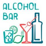 Cartão da barra do álcool Fotografia de Stock Royalty Free