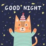 Cartão da boa noite com um gato bonito ilustração royalty free